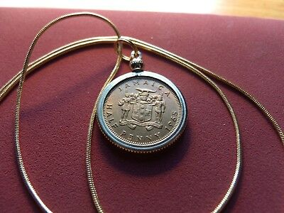 "1965 Jamaican Brass Elizabeth II Coin Pendant on 24"" 18K Gold Filled Snake Chain"
