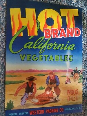HOT BRAND Vegetable Horizontal Label Cowboys Branding Cattle Guadalupe CA