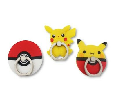 Finex SET of 3 Pokemon Pikachu Pokeball Mobile Cell Phone Ring Stand Holder 360