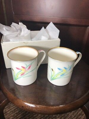 2 Japan Fukagawa Koransha Porcelain Pink /blue Tea/coffe Cups w/Box Flowers Gold