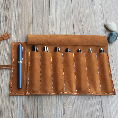 Handmade Vintage Genuine Leather 7 Pen Bag Roll up Case Pencil Case Pouch Brush