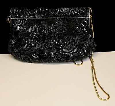 Vintage Carla Marchi Black Beaded Evening Handbag Clutch Or Shoulder Gold Strap