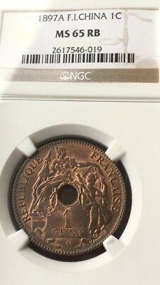 1897 A FRENCH INDO-CHINA ONE CENT, NGC GRADED at MS-65 RB, AWESOME COIN*****