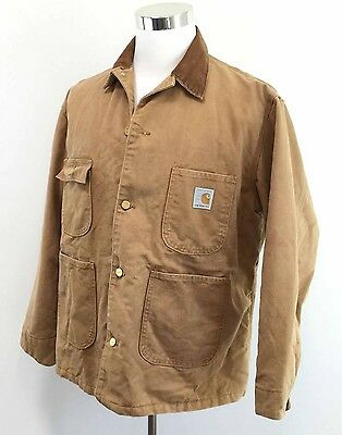Mens Vintage CARHARTT 100% Cotton Duck Canvas Coat Quilted Lining Jacket 50L