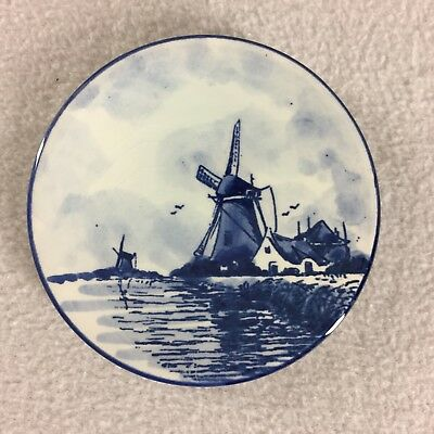 """Small Delft Wall Hanging Plate Blue White WIndmill 3 3/4"""""""