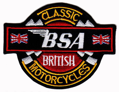 BSA MOTORCYCLE IRON ON PATCH EMBROIDERED cafe racer ace ton up 59 british biker