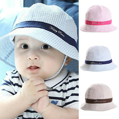 FT- Cute Baby Girls Summer Bucket Hat Toddler Infant Striped Cotton Sun Cap Cool