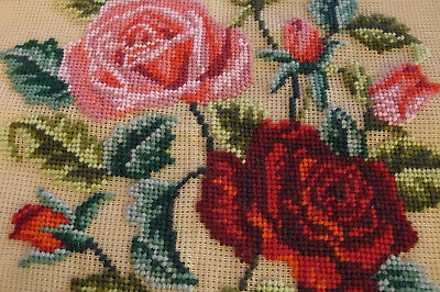 """Vintage Monica  Pre-worked wool Floral Needlepoint canvas design 2187 24"""" x 24"""""""