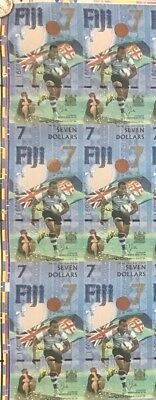 Fiji 7 Dollars 2017 Uncut Sheets X6 Notes Au Prefix  Unc
