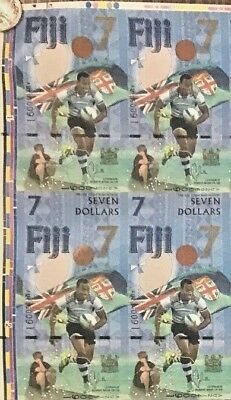 Fiji 7 Dollars 2017 Uncut Sheets X4 Notes Au Prefix  Unc