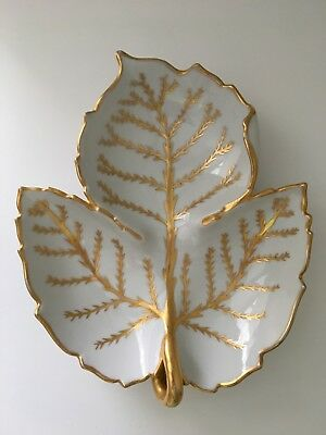 Dish Divided 3 way by Anne W. Breinin porcelain with gold hand painted trim