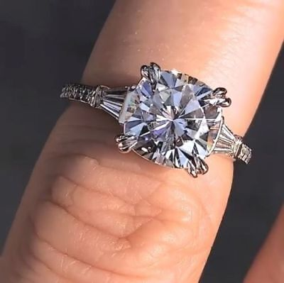 3 00ct Cushion Cut Moissanite Solitaire Engagement Ring 14k White Gold Finish