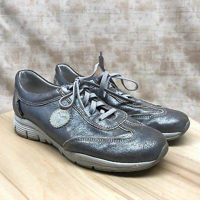 e020128be7 Mephisto Yael Womens Shoe Size 7 Cracked Silver Leather Athletic Sneakers  CG3