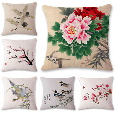 Flower Print Pillowcase Cotton Linen Pillow Case Sofa Bedroom Cushion Covers