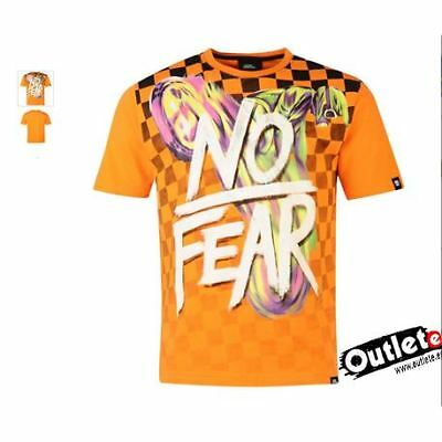 Camiseta Moto Fashion No Fear Moto Graphic Orange Checker