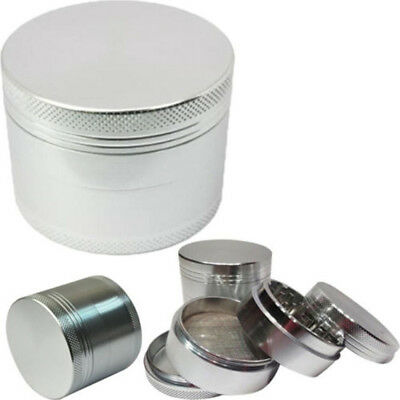 4-Layers Aluminum Alloy Herbal Herb Tobacco Grinder Grinders Silver 42MM Newest