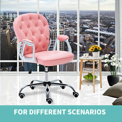 Office Chair Fashion Seat Simple Pink Swivel Rocking PU Leather Soho / Home