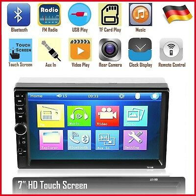 "7"" HD 1080P Doppel 2 Din Autoradio Bluetooth USB SD TF MP5 Player Touchscreen DE"