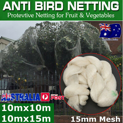 Anti Bird Netting, WHITE 10 x 15m Pest Net / Fruit, Plant, Tree, pond - extruded