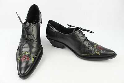 Shoes Lace Pointed Lasdin Black Leather Embroidered T 38 Very Good Condition