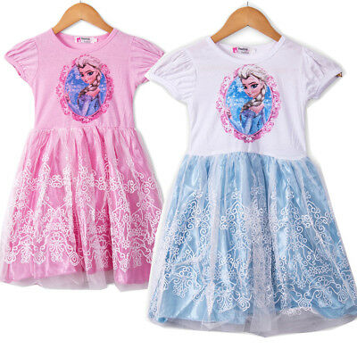 Summer Toddler Kids Girls Frozen Elsa Princess Party Lace Dress Dresses Clothes