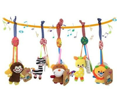 Cute Animal Baby Pram Bed Stroller Musical Hanging Toys Handbells with Teether
