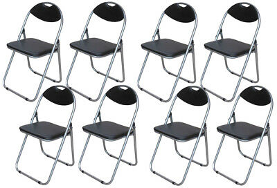 Folding Chairs Black Padded Desk Guest Office Computer Seat Faux Leather