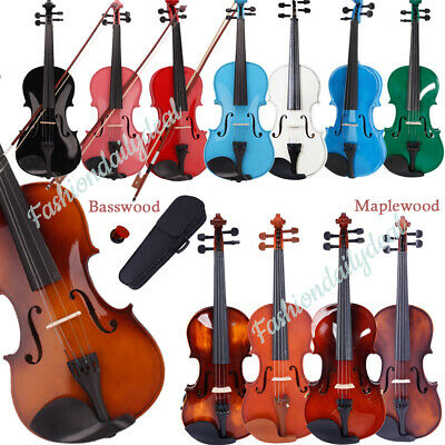 8colors 3/4 4/4 Size Acoustic Violin Set With Case&Bow&Rosin Cake&Bridge&Strings