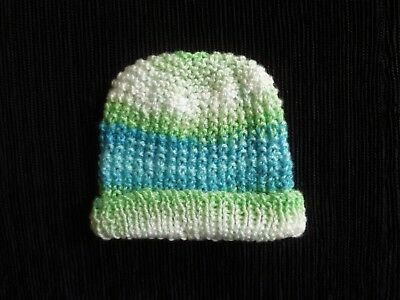 Baby clothes BOY newborn 0-1m pull-on hat knitted blues,greens,white SEE SHOP!