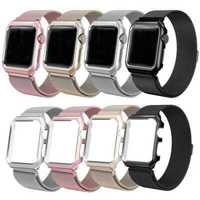 Magnetic Milanese Stainless Band Strap +Case Frame For Apple Watch Series 3 2 4