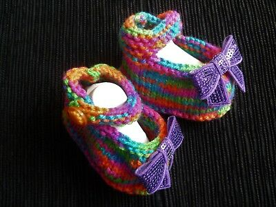 Baby clothes GIRL newborn 0-1m bright rainbow wool knitted bootees/shoes strap