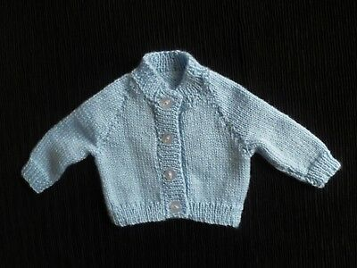 Baby clothes BOY premature/tiny<7.5lbs/3.4kg blue knitted cardigan SEE SHOP!