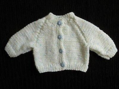 Baby clothes BOY premature/tiny<7.5lbs/3.4kg white/blue knit cardigan SEE SHOP!