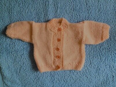 Baby clothes GIRL premature/tiny<7.5lbs/3.4kg peach knit cardigan SEE SHOP!