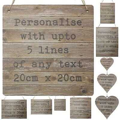 Personalised Rustic Wooden Style Signs Bespoke Plaque Custom Wedding Heart Gift