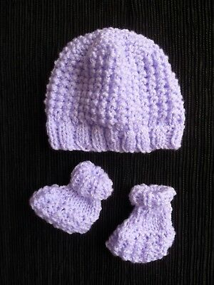 Baby clothes GIRL premature/tiny<5lb/2.3kg soft mauve knit hat/bootees SEE SHOP