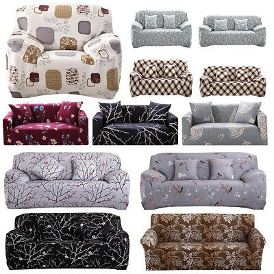 1/2/3/4 Seaters Floral Modern Stretch Sofa Couch Covers Slipcover Protector Soft