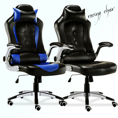 Office Chair Luxury Executive Bucket Seat Computer Desk PU Leather Gaming Chair
