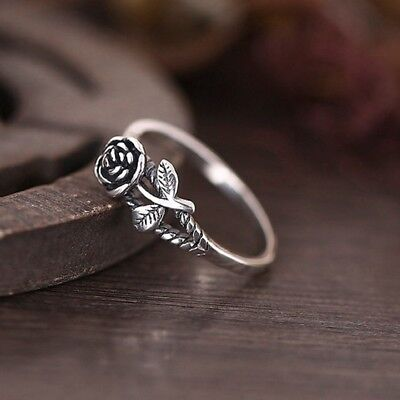 Women Vintage Thai Silver Plated Rose Flower Band Ring Punk Gothic Rings Jewelry