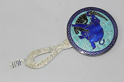 India Elephant Figure Enamel Work On 925 Sterling Silver Small Hand mirror