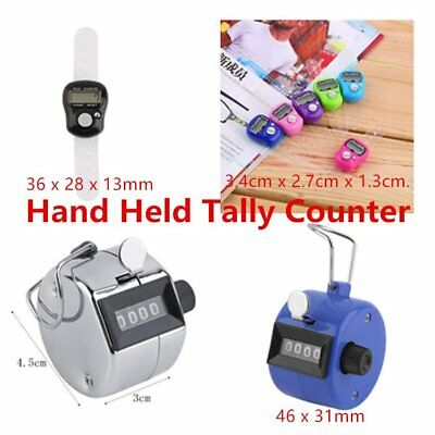 Hand Held Tally Counter Manual Counting 4 Digit Number Golf Clicker GG