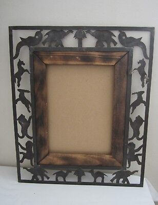Hand Made Black Cast IRON Wall Picture Frame Wildlife Log Cabin Rustic Decor