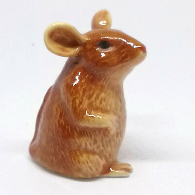 Hand Painted Miniature Collectible Ceramic Brown Rat Mouse Figurine