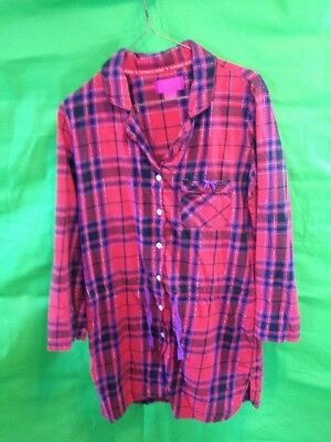 edc8fd27238c1 VICTORIAS SECRET LONG Sleeve Button Down Night Gown Red Size XS ...