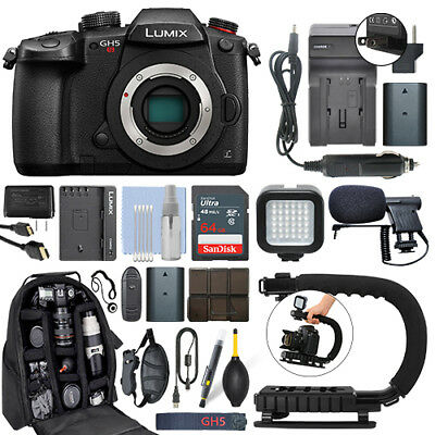 Panasonic Lumix DMC-GH5S 10.28 MP 4K Digital Camera Body + 64GB Pro Video Kit