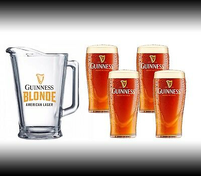 Guinness Blonde Beer Pitcher with 4 Glasses GREAT GIFT SET!