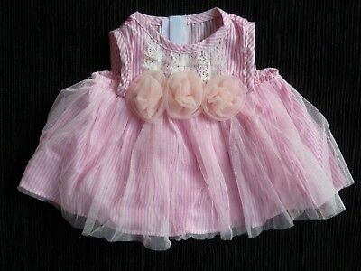Baby clothes GIRL premature/tiny<5lbs/2.3kg pink stripe roses net layer dress