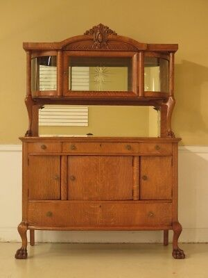 F43229: Antique Victorian Oak Sideboard with China Top