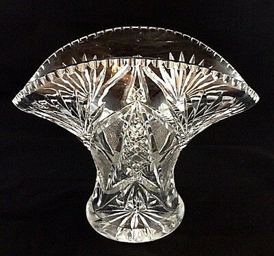 Large Cut Glass Crystal Vase or Centre Piece