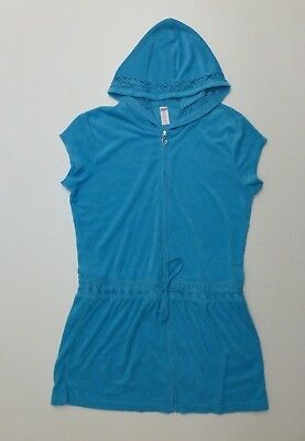 39d9d0c1dd Justice Girls Size 18 Blue Swimsuit Cover-Up Terry Cloth Zipper Front Dress  USED
